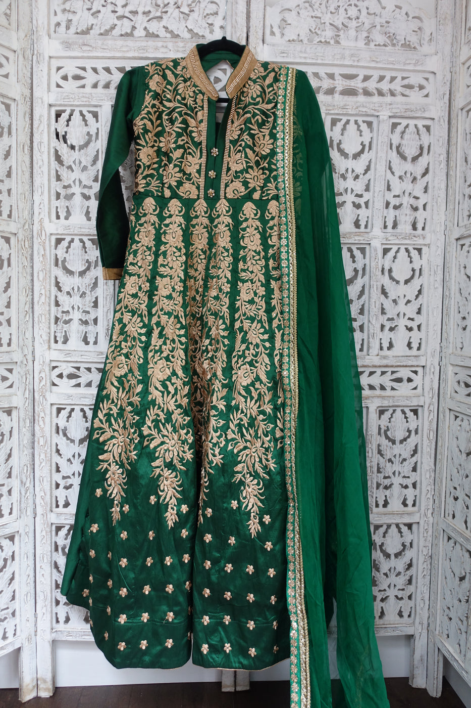 Le16636 Green Long Silk Blend Frock & Chunni - Wip - Indian Suit Company