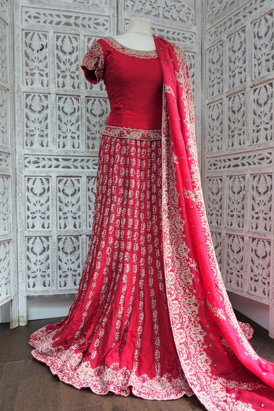 Red Silk Wedding Lengha With Train - Preloved UK 10 / EU 36 - Indian Suit Company