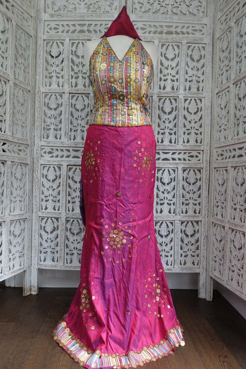 le17272 stripe raw silk used lengha some beads missing on skirt hem - Indian Suit Company