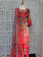 Pink Long Kameez Churidaar Suit - UK 12 / EU 38 - Preloved - Indian Suit Company