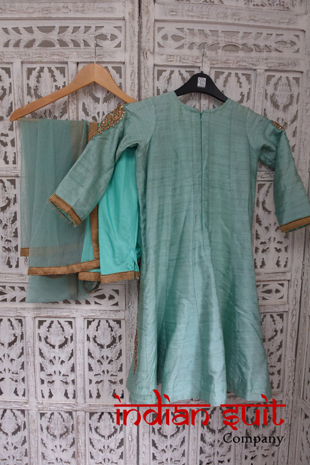 Mint Green Girls Bollywood Frock Churidaar Suit To Fit Age 6-7 - Preloved - Indian Suit Company