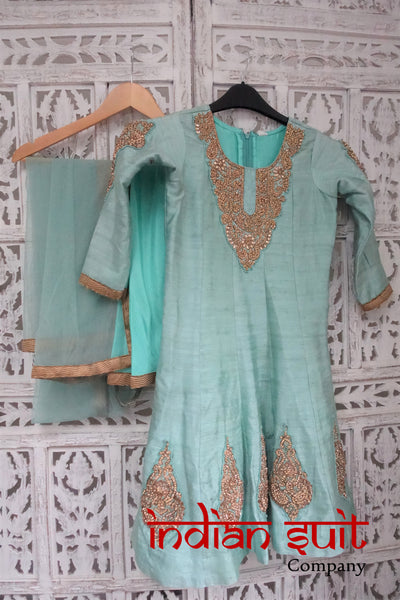 Mint Green Girls Bollywood Frock Churidaar Suit To Fit Age 6-7 - Indian Suit Company