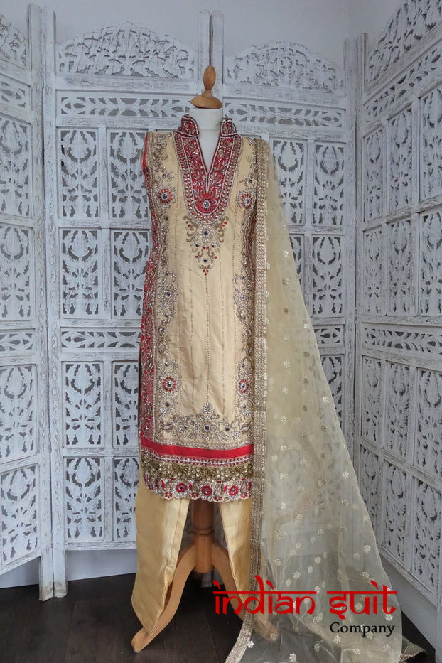 Cream Silk Capri Style Embellished Indian Size UK 10 / EU 36 - New - Indian Suit Company