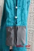 Blue & Grey Tissue Silk Capri Style Suit - Preloved - Size UK 12 / EU 38 - Indian Suit Company
