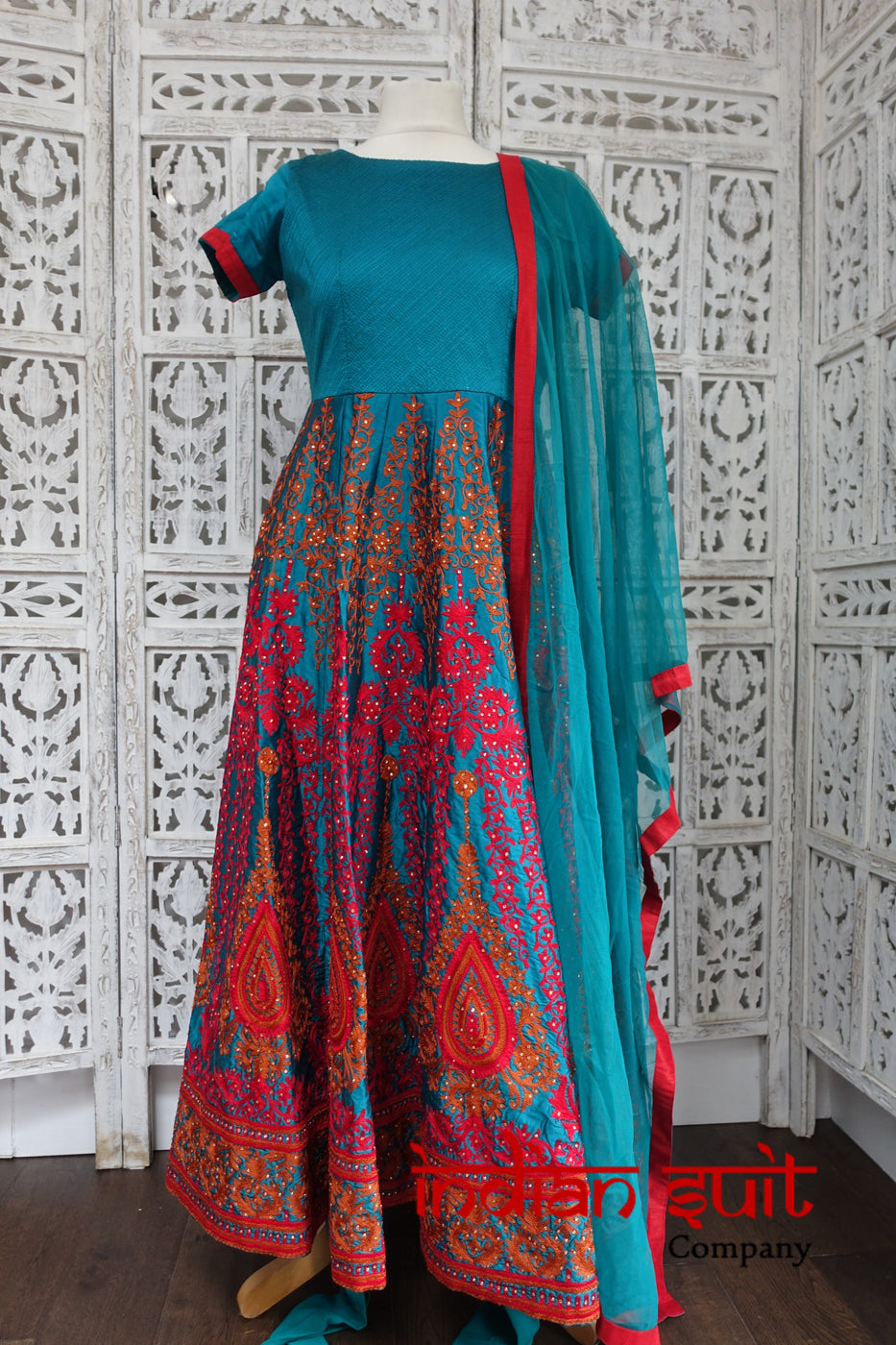 Teal Designer Frock Churidaar Suit - Preloved - UK 10 / EU 36 - Indian Suit Company