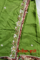 Rust & Olive Churidaar Kameez Suit - UK 8 / EU 34 - Preloved - Indian Suit Company
