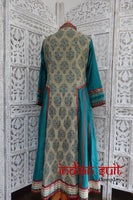Taupe/teal Churidaar Kameez suit - Size UK 12/ EU 38 – Preloved