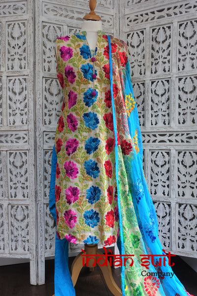 Colourful Embroidered Churidaar Suit - UK 10 / EU 36 - Preloved - Indian Suit Company
