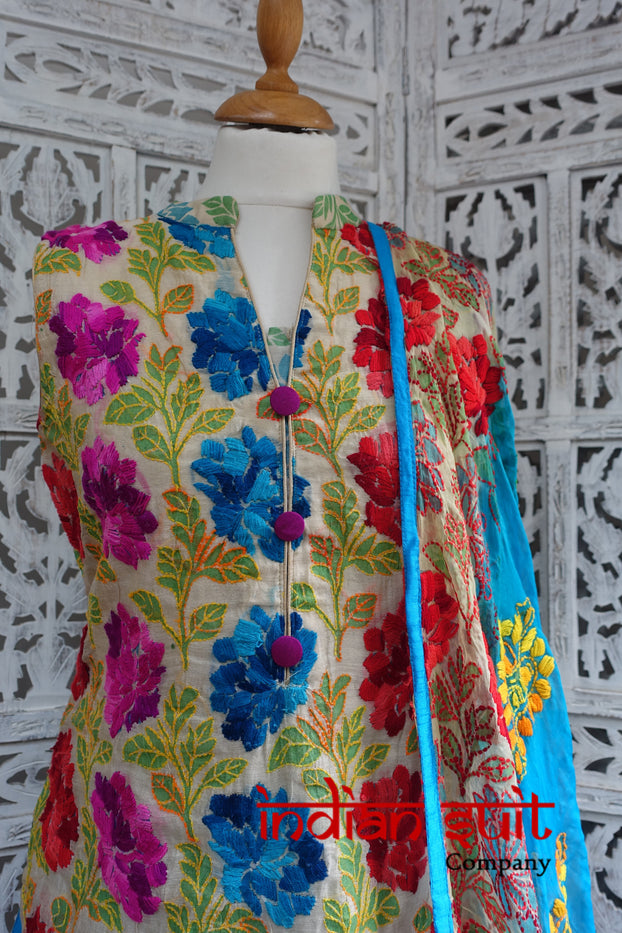 Colourful Embroidered Churidaar Suit - UK Size 10 / EU 36 - Preloved - Indian Suit Company