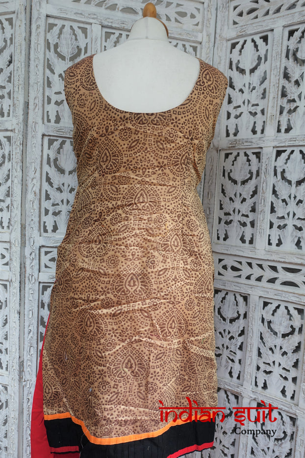 Beige & Red Churidaar Kameez - UK 10 / EU 36 - Preloved - Indian Suit Company