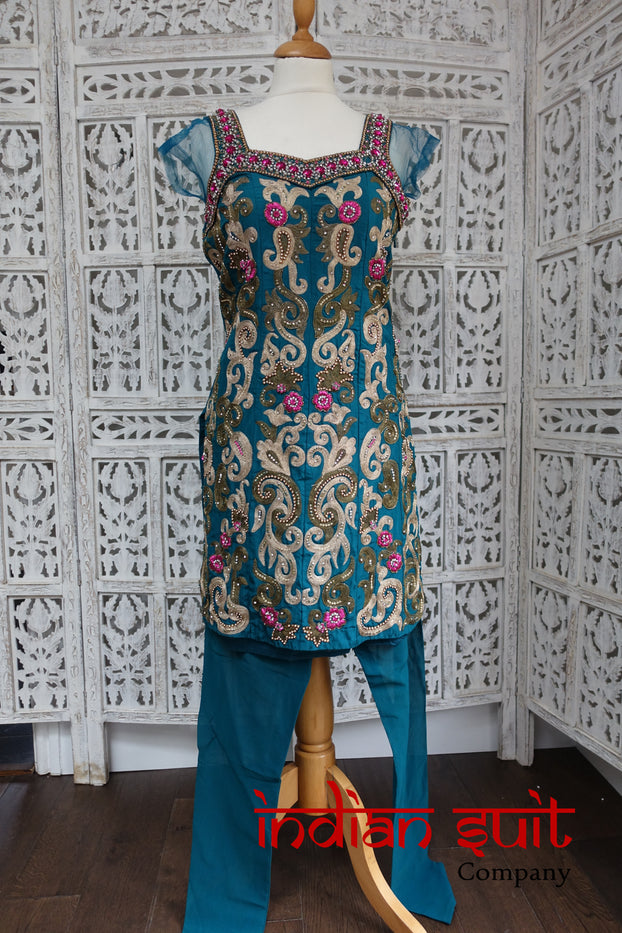 Teal & Pink Silk Churidaar Kameez - UK 8 / EU 34 - New - Indian Suit Company