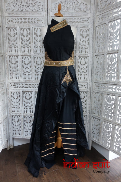 Black Raw Silk Diamante Gown & Churidaar - Preloved - UK 10 / EU 36 - Indian Suit Company