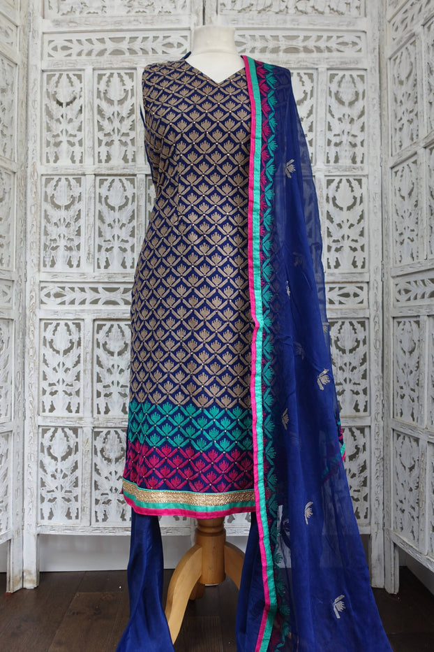 Blue Chiffon Churidaar Suit - UK 10 / EU 36 - Preloved - Indian Suit Company