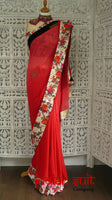 "Red & Pink Ombre + 36"" Blouse - Preloved - Indian Suit Company"