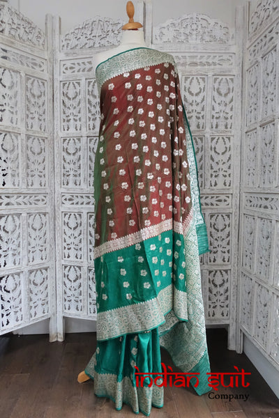 2 Tone Contrast Red Green Pure Silk Vintage Sari With Silver Zari Work - New - Indian Suit Company