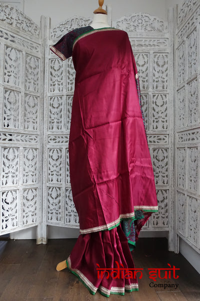 Dark Maroon Vintage Brushed Sateen Silk + 32 Inch Blouse - New - Indian Suit Company