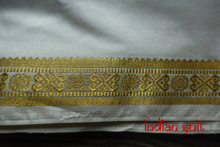 Pure Silk Stone & Gold Coloured Vintage Sari - Preloved - Indian Suit Company
