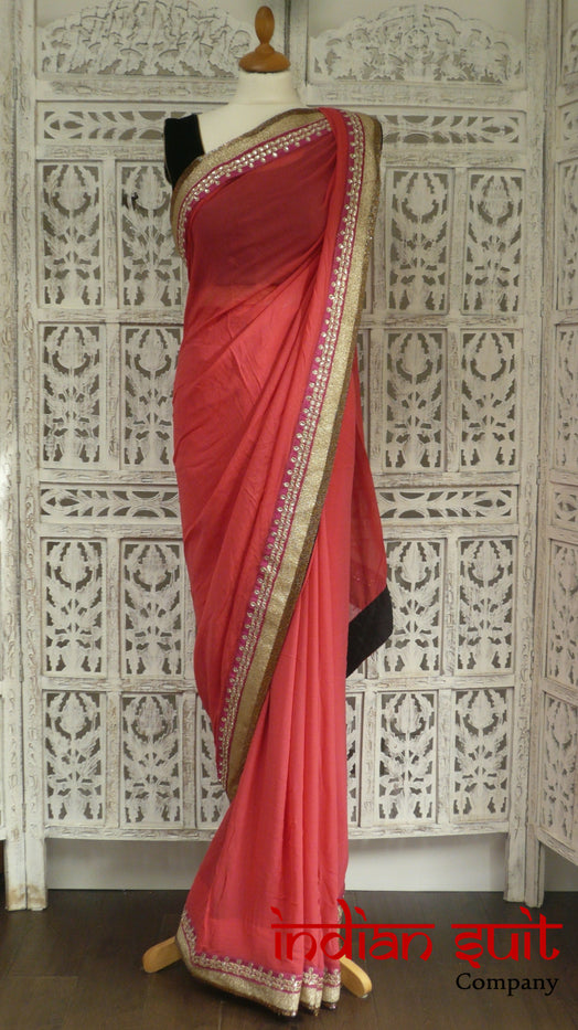 Coral Silk Chiffon 3Pc Sari + 31 Inch Blouse - Preloved - Indian Suit Company