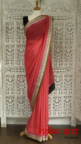 "Coral Silk Chiffon 3Pc Sari With Velvet Blouse With 31"" Blouse - Preloved - Indian Suit Company"