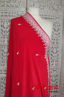Red Silk Vintage Sari With White Embellishments - Preloved - Indian Suit Company
