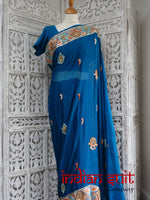 Blue Vintage Silk Sari With 41 Bust Blouse - New - Indian Suit Company