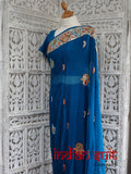 "Blue vintage silk sari with 41"" blouse - new"