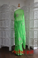 Bright Green Vintage American Georgette Sari - New - Indian Suit Company