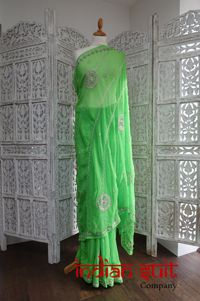 Bright green vintage american georgette sari - new