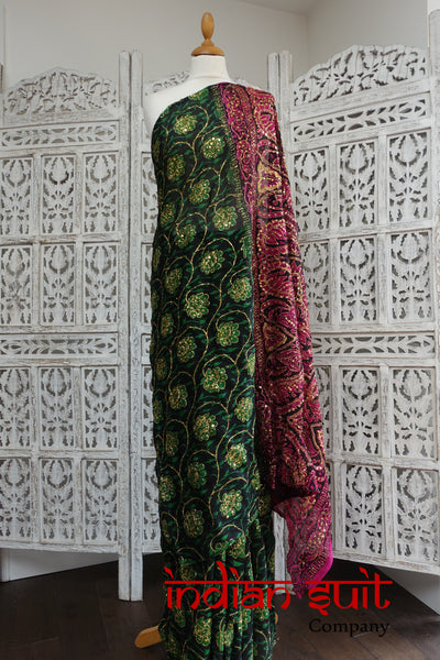 Printed Emerald Green, Pink & Gold Vintage Sari - New - Indian Suit Company
