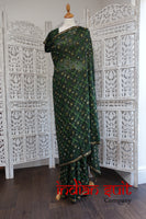 Dark Green Metallic Thread Sari + 40 Inch Blouse - Preloved - Indian Suit Company
