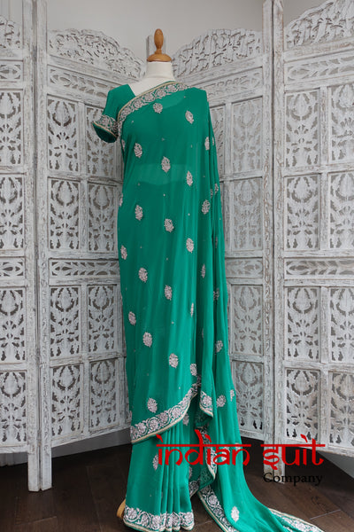 Emerald Green Silk Chiffon Diamante Sari With 30 Inch Blouse - New - Indian Suit Company