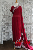 "Dark red silk chiffon sari with 44"" chest blouse – preloved"