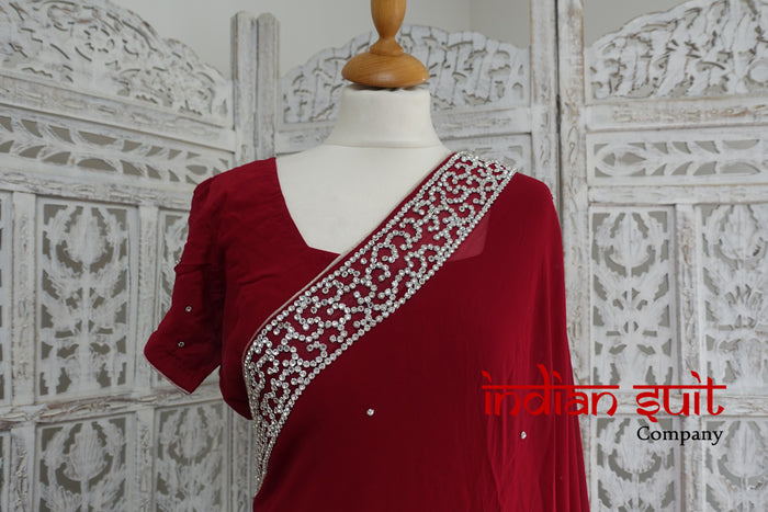 Dark Red Silk Chiffon Sari With 44 ½ Chest Blouse - Preloved - Indian Suit Company