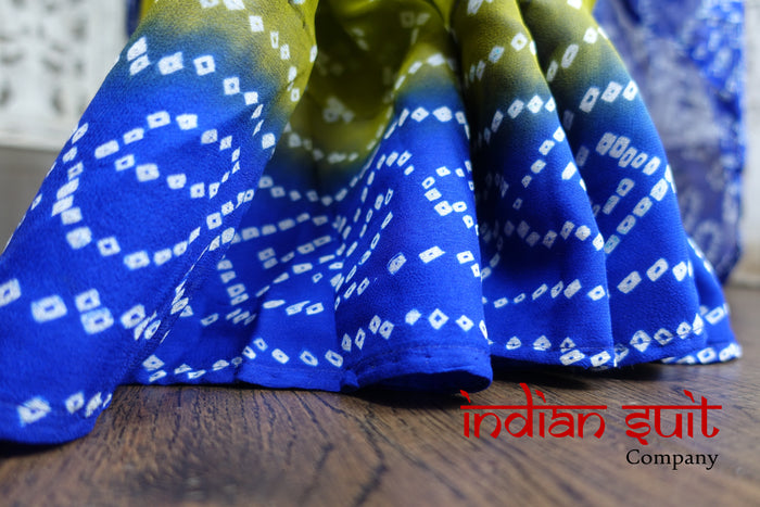 Bandhani Print Blue & Green Sari With 30 Inch Blouse - New - Indian Suit Company