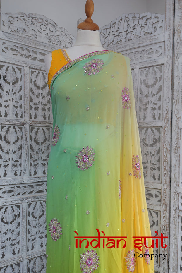 Pastel Yellow Green Silk Chiffon Sari + 31 Inch Blouse - New - Indian Suit Company