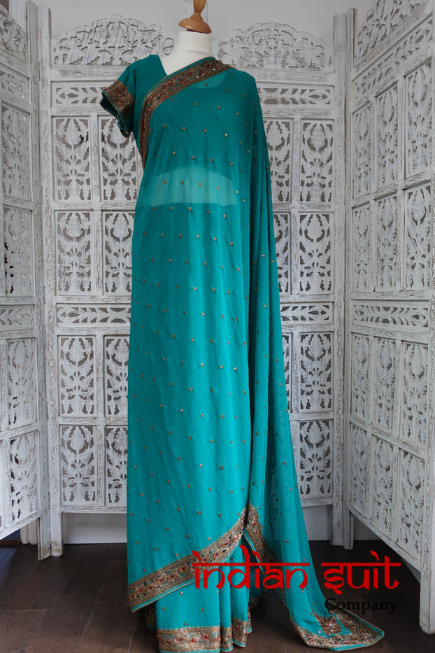 Teal Embellished Sari Saree + 42 Inch Blouse - Preloved - Indian Suit Company