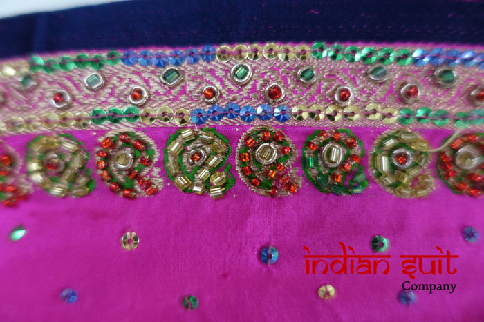 Vintage Bright Pink & Navy Pure Silk Sari - New - Indian Suit Company