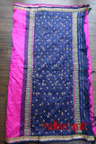 Vintage Bright Pink & Navy Pure Silk Sari - New