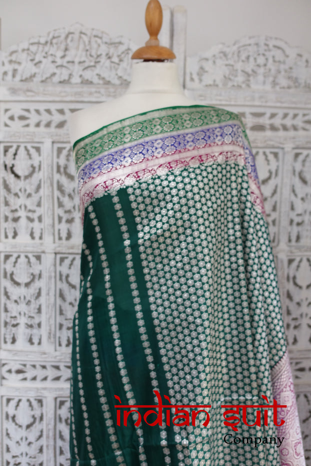 Stunning Dark Green Vintage Banarsi Brocade Silk Sari - Preloved - Indian Suit Company