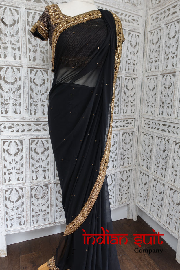Black Chiffon Sari + 32 Bust Banarsi Blouse - Preloved - Indian Suit Company