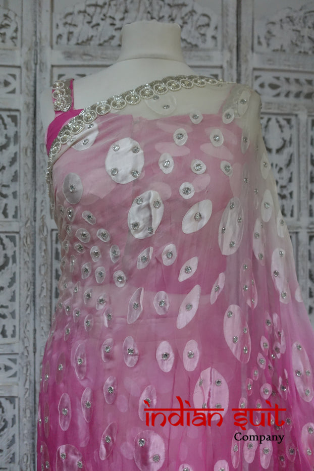 Pink & White Chiffon Beaded Sari + 32 Inch Blouse - Preloved - Indian Suit Company