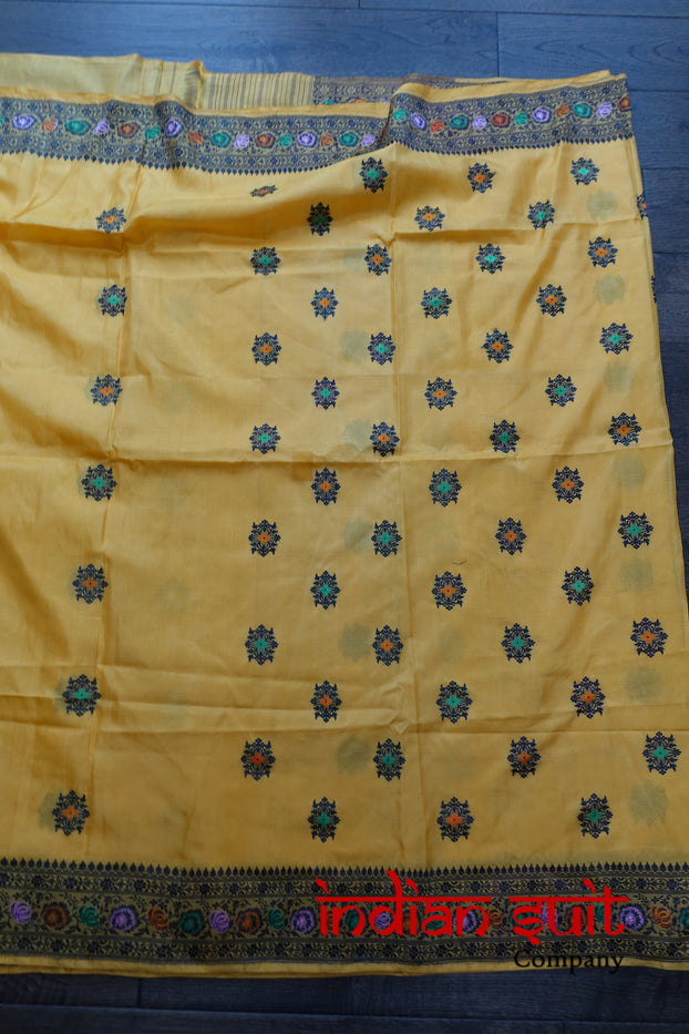 Yellow Vintage Sari With Blouse Piece - New - Indian Suit Company