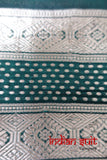 Brand New Dark Green & Gold Pure Silk Vintage Sari - New - Indian Suit Company