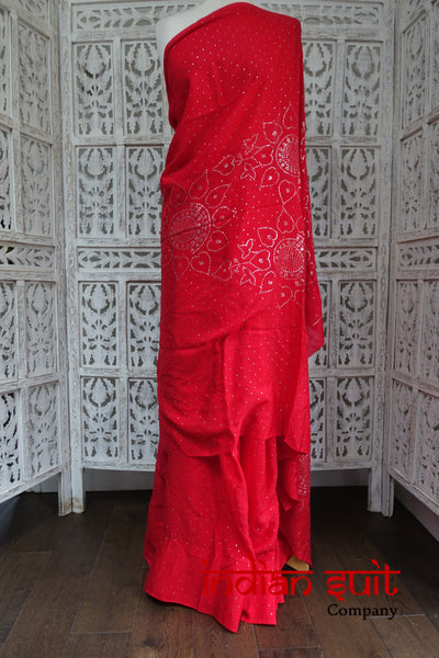 Red Silk Vintage Silver Mukesh Sari - New - Indian Suit Company