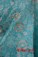 Aqua & Purple Tissue Silk Sari + 42½ Bust Blouse - Preloved - Indian Suit Company