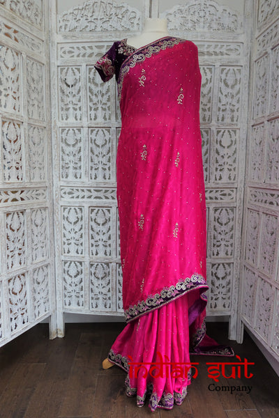 "Pink & Purple Sari + 2 36"" Blouses  - New - Indian Suit Company"