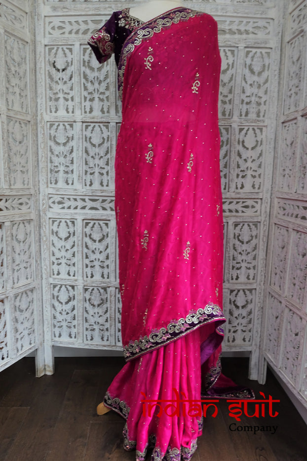 Pink & Purple Sari + 2 X 36 Inch Blouses - New - Indian Suit Company