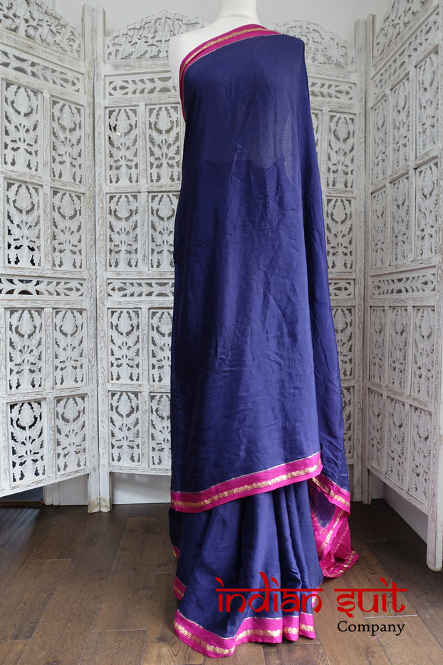 Indigo Blue & Magenta Silk Vintage Sari - New - Indian Suit Company