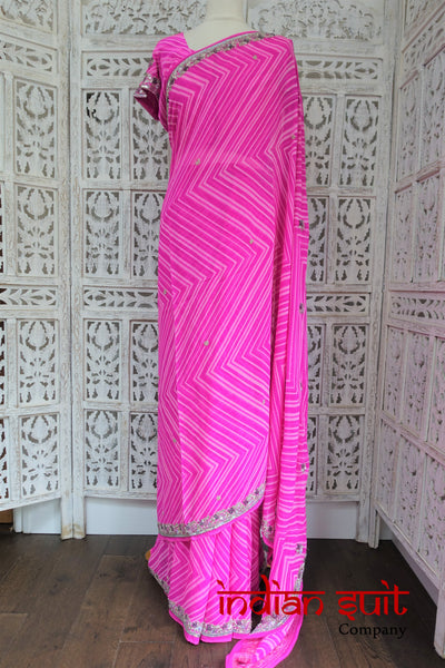 Pink White Stripe Silk Indian Sari + 38 Inch Blouse - Preloved - Indian Suit Company