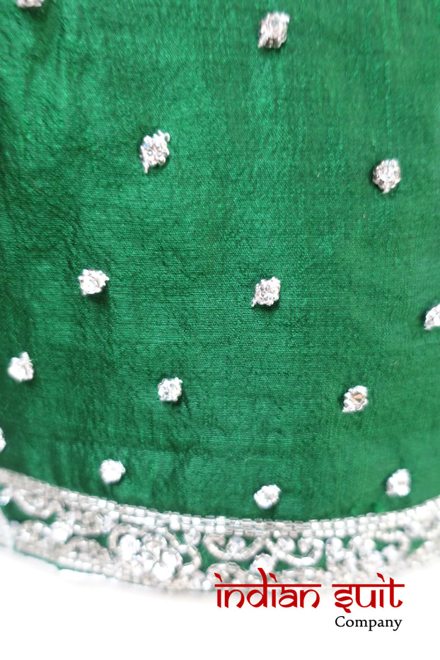 Emerald Green Ready Pleated Sari & 37 Inch Blouse - Preloved - Indian Suit Company